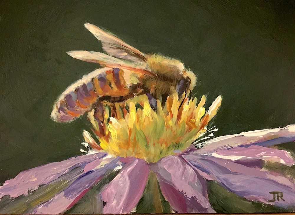 """Busy Bee"" original fine art by June Rollins"