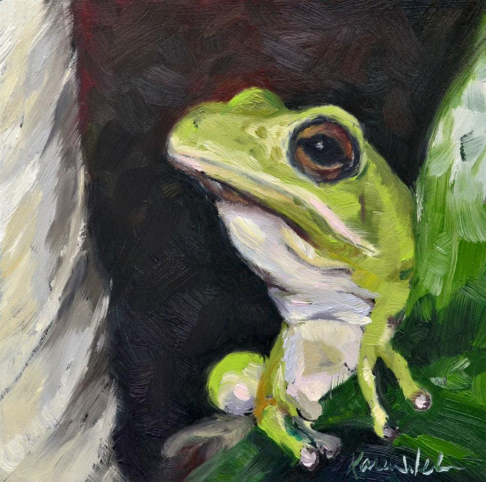 """""""Froggy"""" original fine art by Karen Weber"""