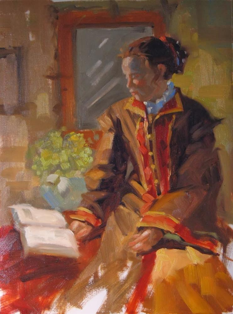 """History reading 9x12 oil on canvas"" original fine art by Claudia Hammer"