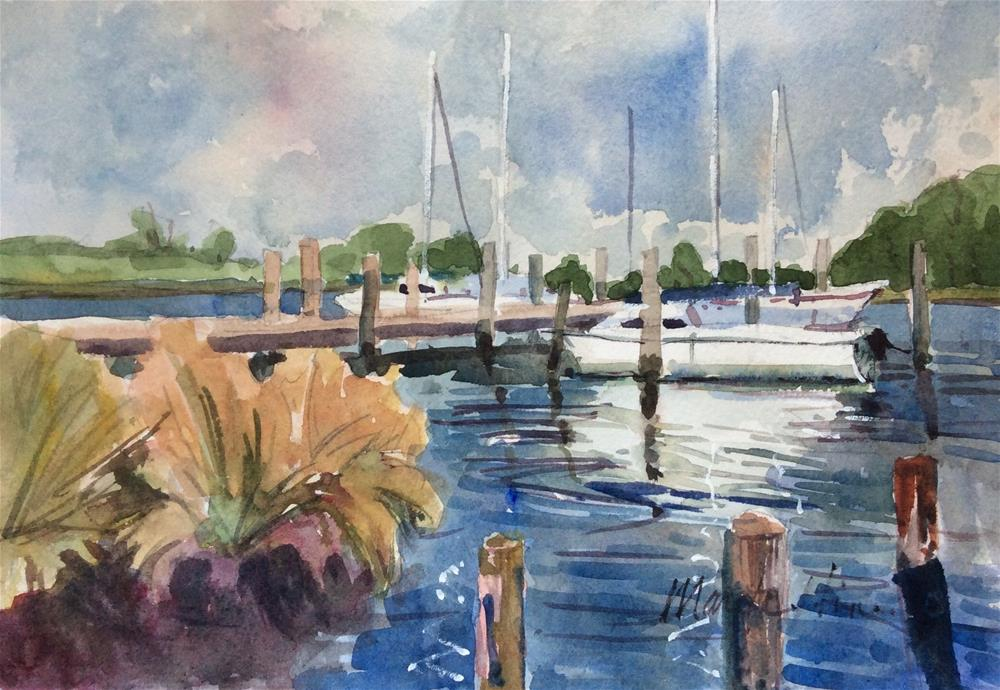 """Docked at Manteo"" original fine art by Marita Hines"