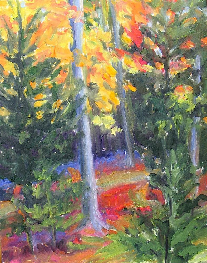 """Woods With Yellow"" original fine art by Lynne Schulte"