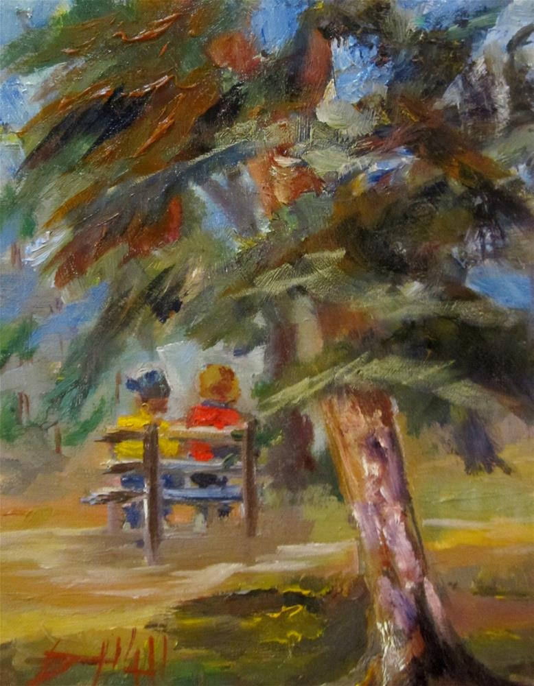 """Park Bench"" original fine art by Delilah Smith"