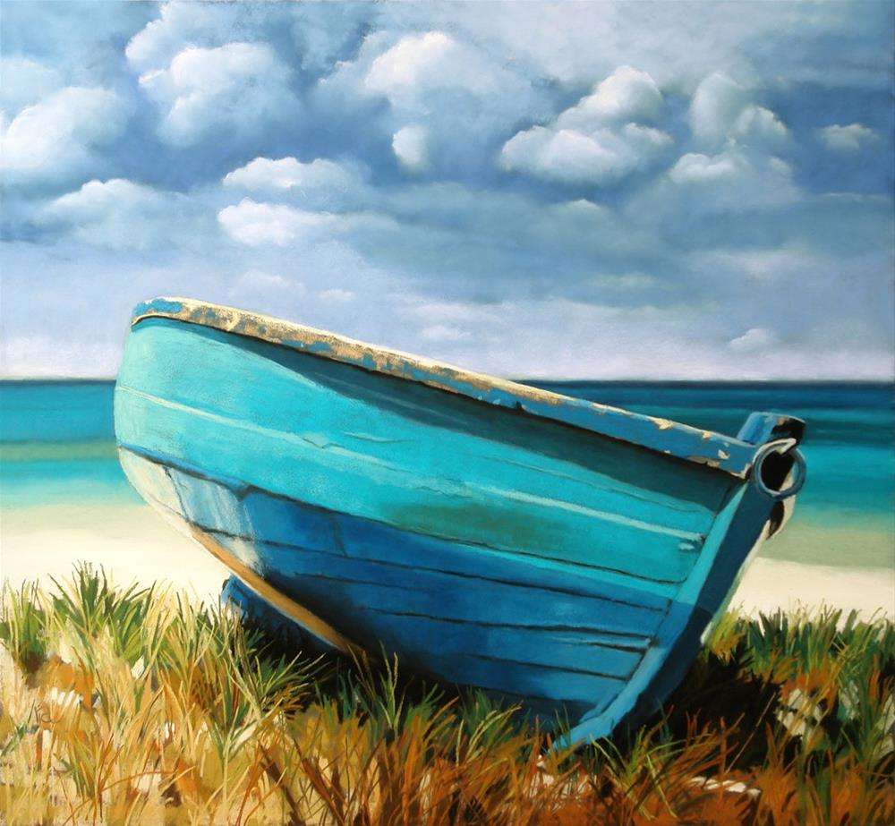 """Blue Boat"" original fine art by Ria Hills"