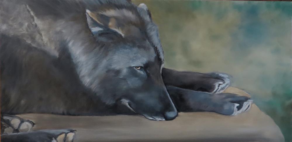 """Lying Wolf"" original fine art by Charlotte Yealey"