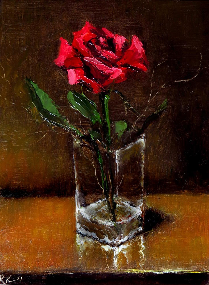 """A Rose in a Glass"" original fine art by Bob Kimball"