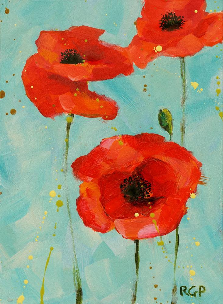 """""""3 Poppies"""" original fine art by Rhea  Groepper Pettit"""