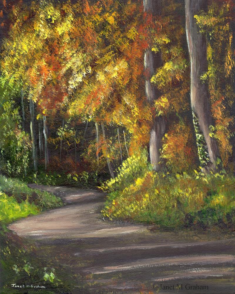 """Autumn Path 2"" original fine art by Janet Graham"