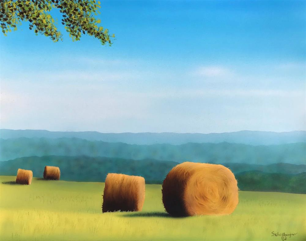 """September Morning Hayfield"" original fine art by Fred Schollmeyer"