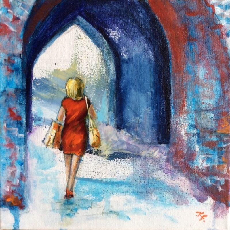 """""""Lady in red"""" original fine art by Klaudia Frieda"""