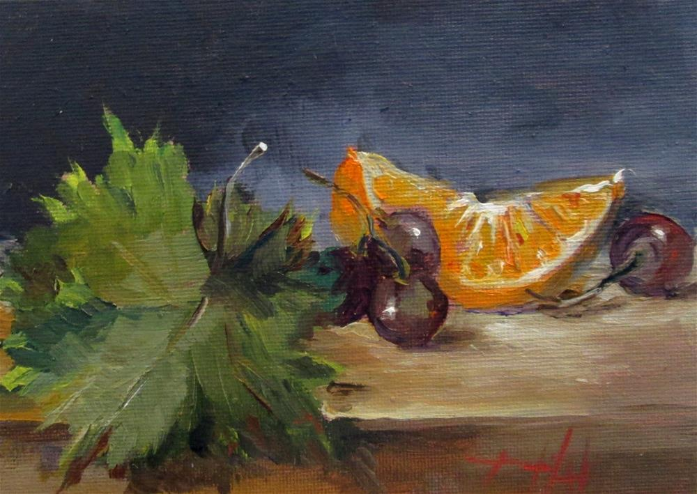 """""""Still Life with Grapes No.2"""" original fine art by Delilah Smith"""