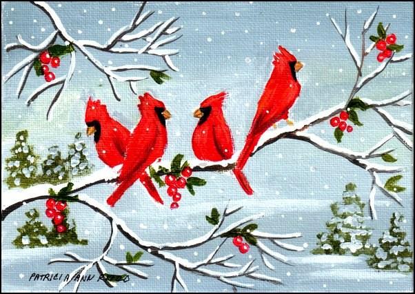 """""""Winter Cardinals"""" original fine art by Patricia Ann Rizzo"""