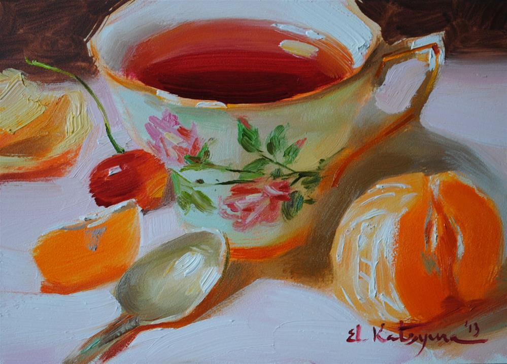 """""""Karkade Tea"""" original fine art by Elena Katsyura"""
