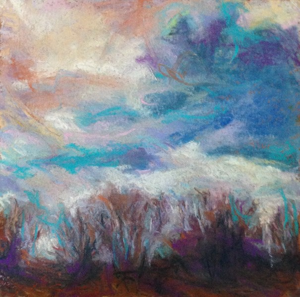 """SHADOWED - 6 x 6 sky pastel by Susan Roden"" original fine art by Susan Roden"