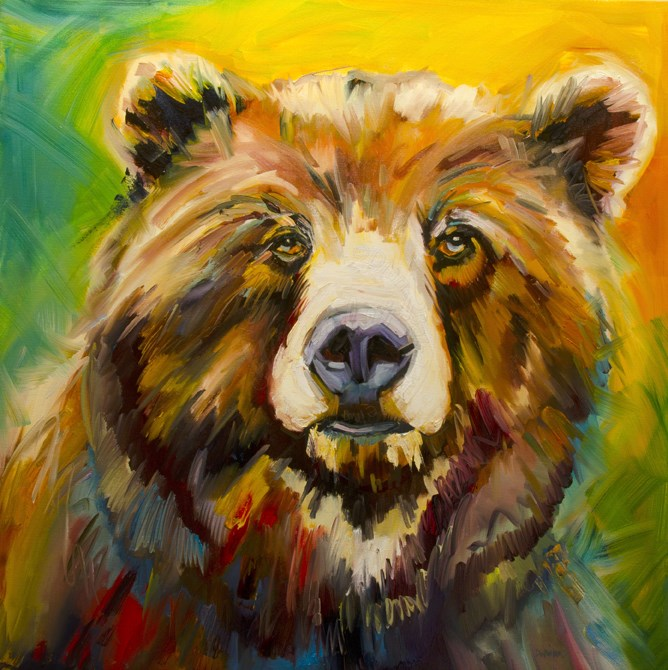 """ARTOUTWEST NEW BEAR IN TOWN Wildlife art oil painting by Diane Whitehead"" original fine art by Diane Whitehead"