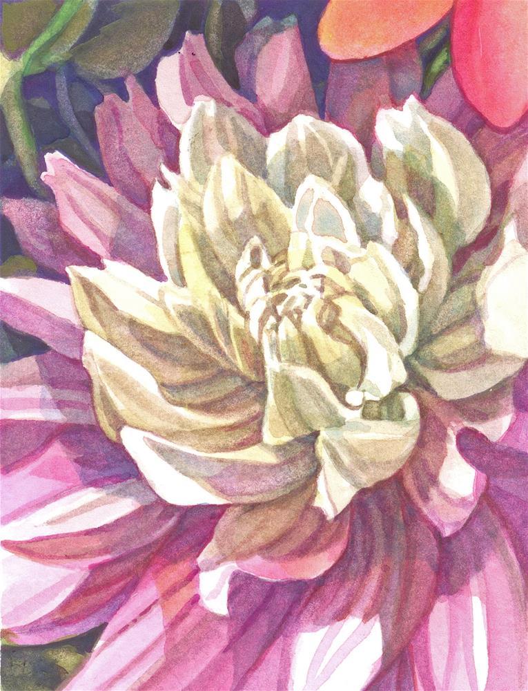 """Dahlia (framed)"" original fine art by Nicoletta Baumeister"