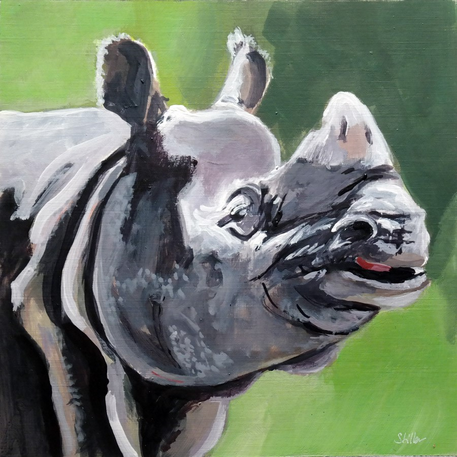 """2751 Nashorn"" original fine art by Dietmar Stiller"