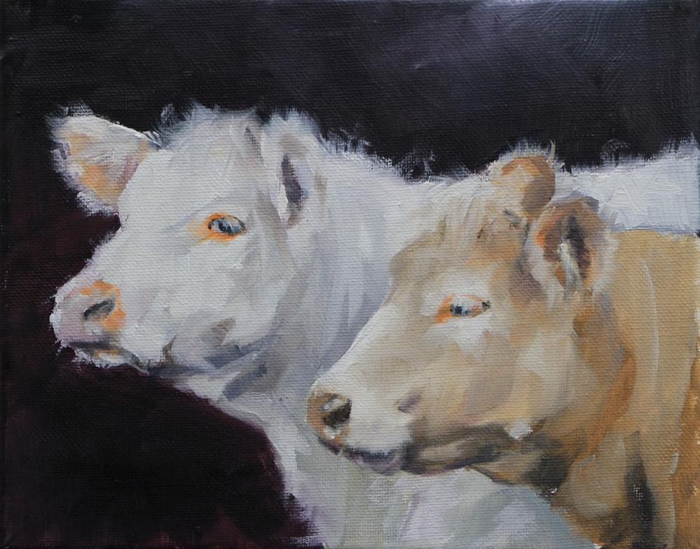 """""""Cows"""" original fine art by Clair Hartmann"""