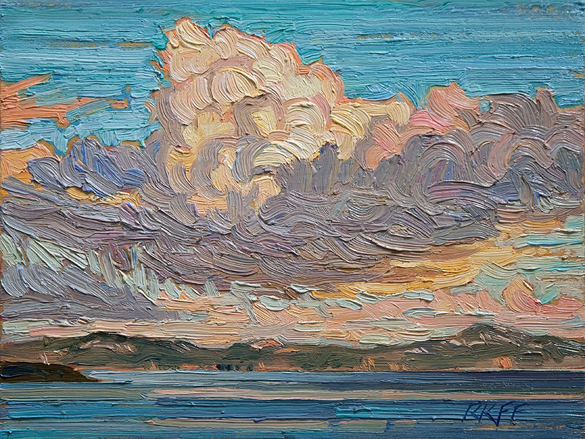 """Snow Clouds: 6x8 oil on panel"" original fine art by Ken Faulks"