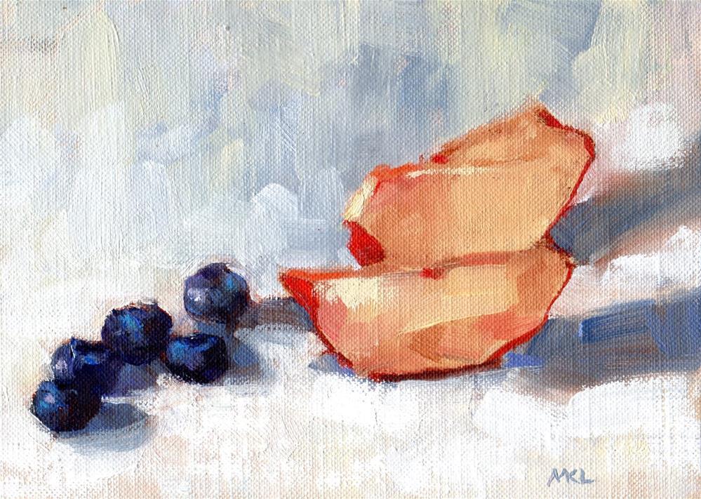 """""""Nectarine Slices with Blueberries"""" original fine art by Marlene Lee"""