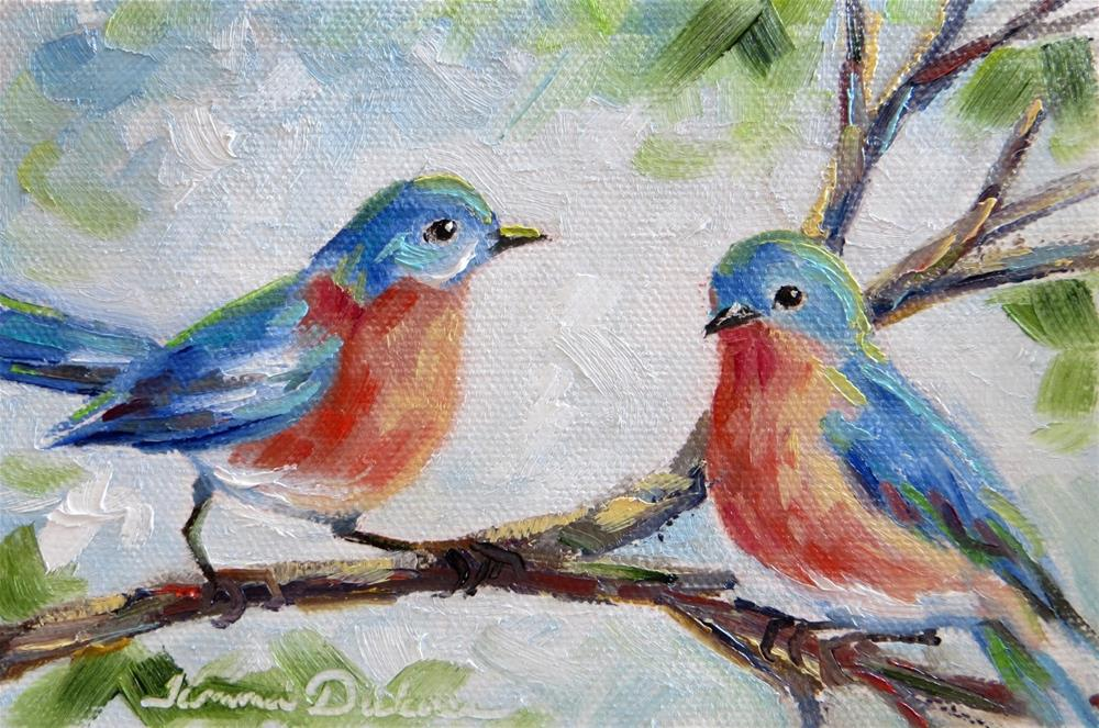 """Bluebird Pair"" original fine art by Tammie Dickerson"
