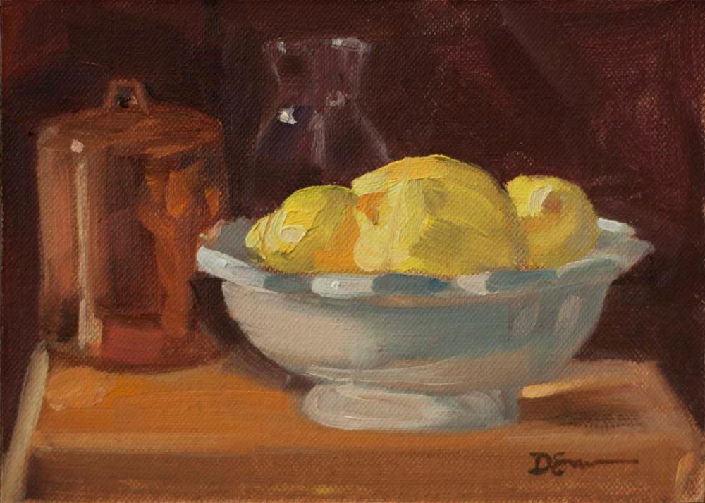 """Lemons in a White Bowl"" original fine art by Deborah Savo"