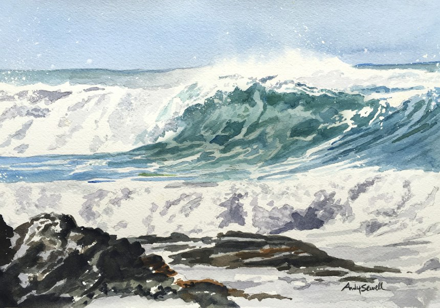 """""""Oregon Wave"""" original fine art by Andy Sewell"""