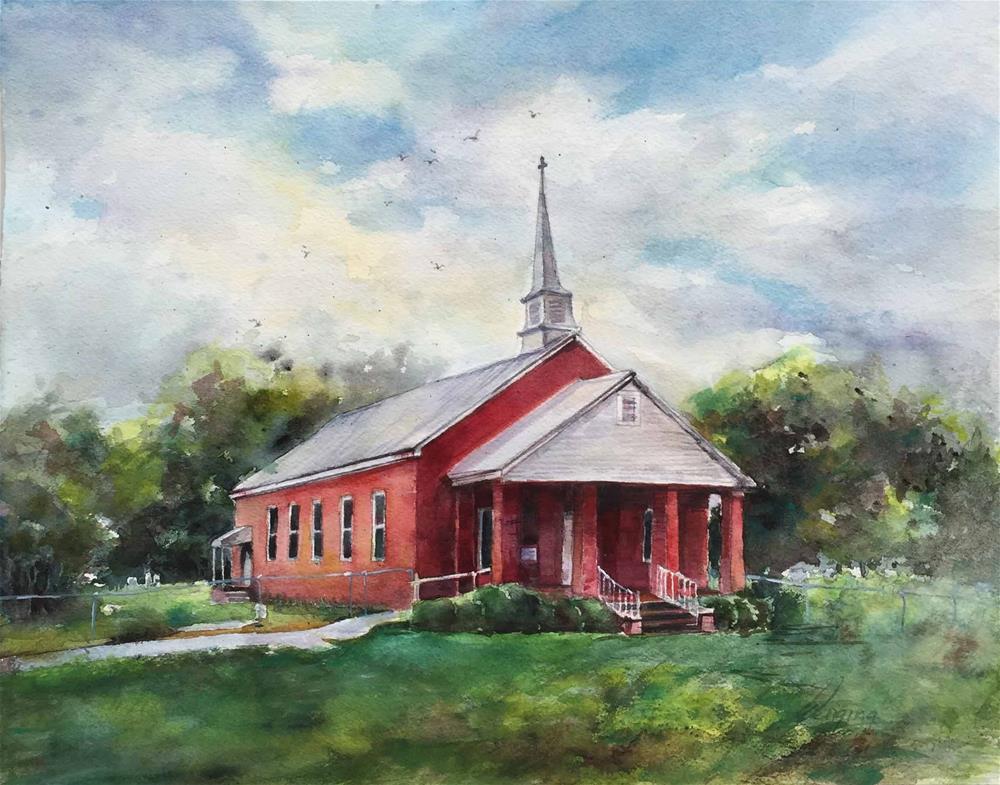 """""""Church"""" original fine art by Wenqing Xu"""