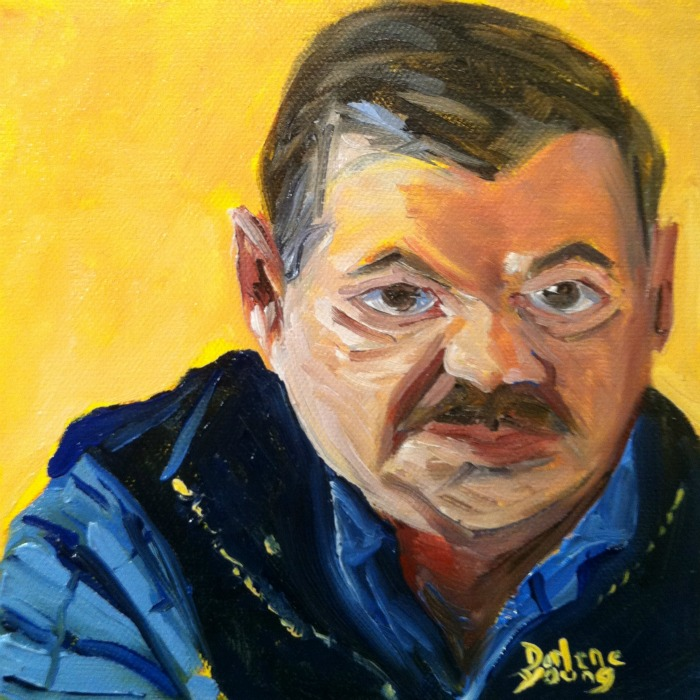 """""""Sheriff Mike, oil on canvas board, 6x6"""" original fine art by Darlene Young"""