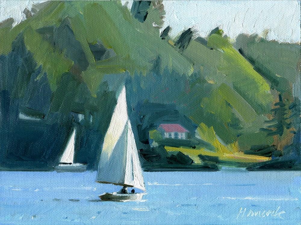 """""""Sailing Around Burton"""" original fine art by Gretchen Hancock"""