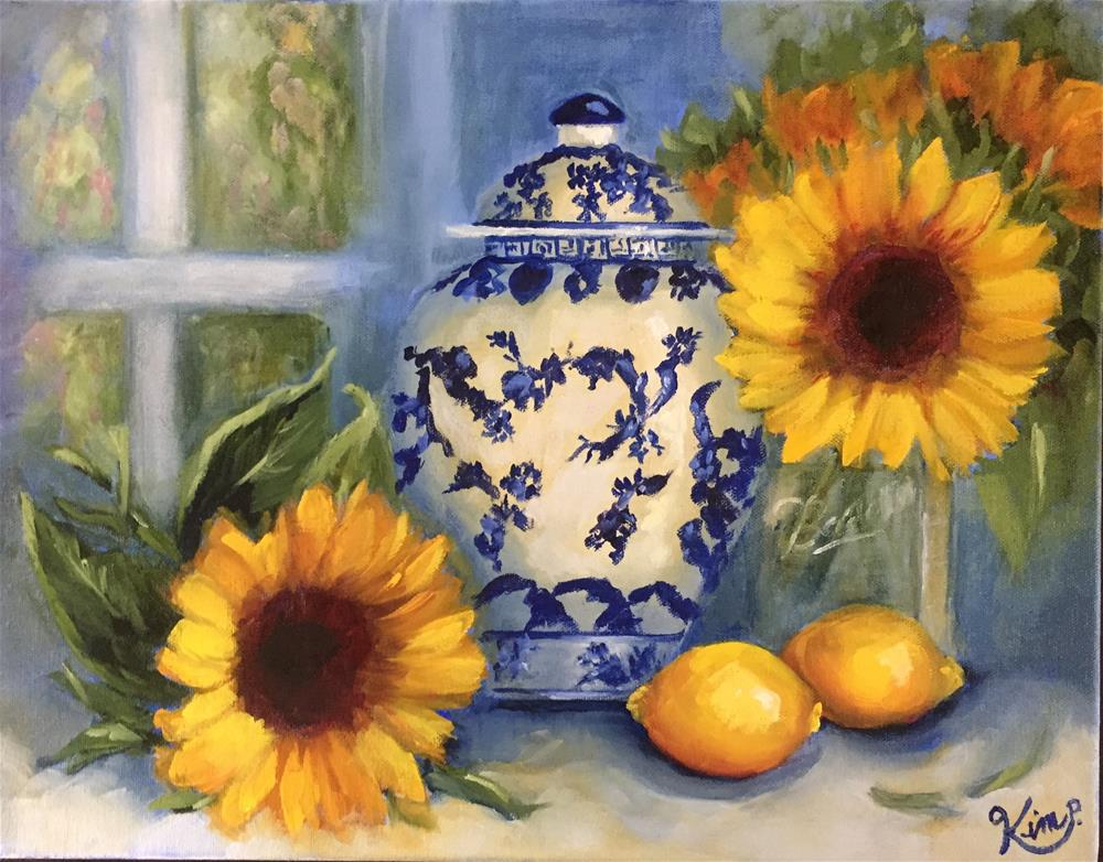 """""""Still life with Sunflowers, Lemons and blue and white Ginger Jar"""" original fine art by Kim Peterson"""