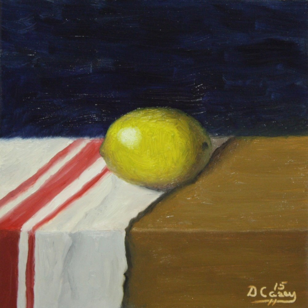 """""""Kitchen Painting - Lemon 009a 6x6 oil on wood panel - Dave TheDailyPainter"""" original fine art by Dave Casey"""