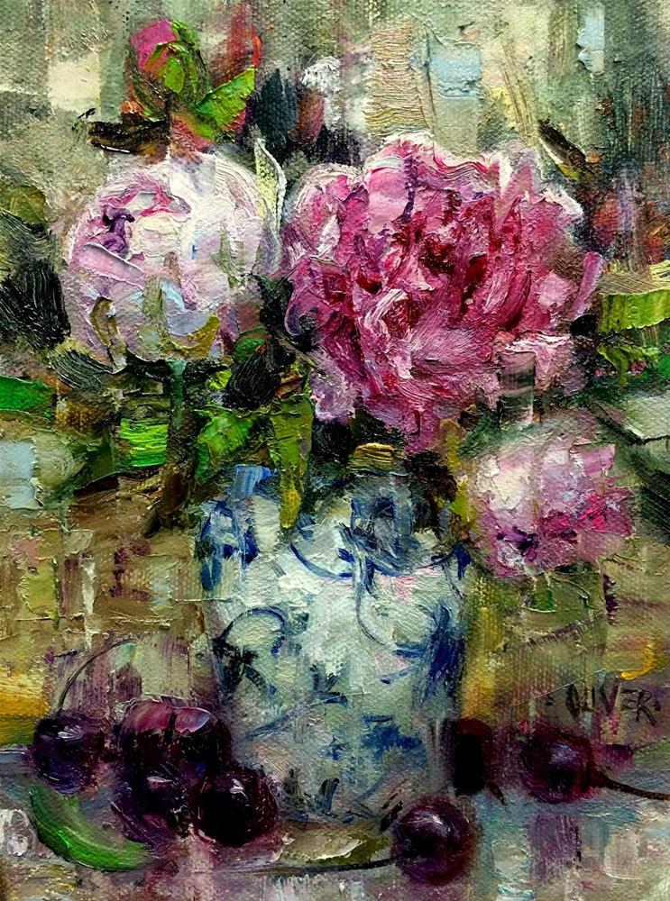 """Peonies in Oil"" original fine art by Julie Ford Oliver"
