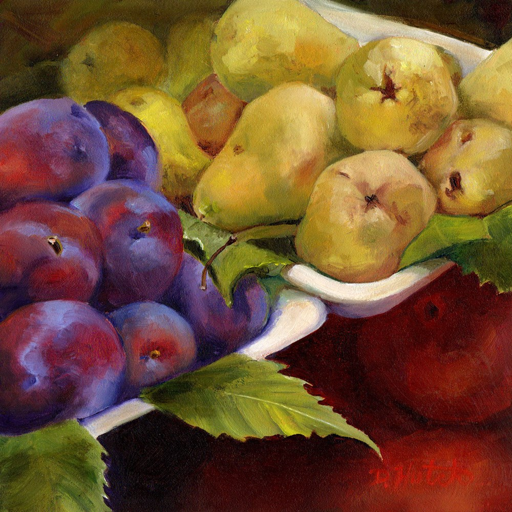"""""""Market Series #5  Plums and Pears"""" original fine art by Diane Hutchinson"""