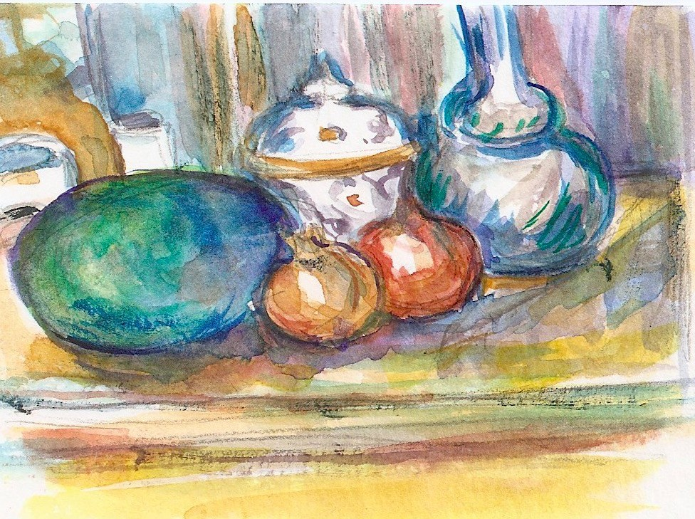 """""""ACEO Watermelon + Pomegranates ala Cezanne Watercolor by Penny StewArt"""" original fine art by Penny Lee StewArt"""