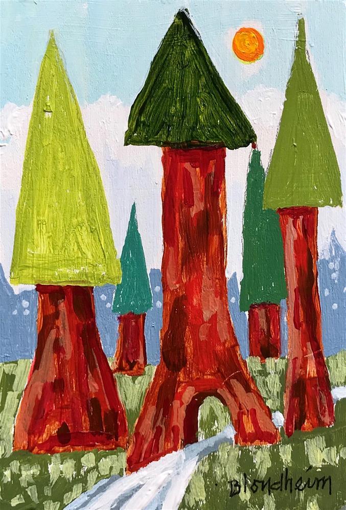 """Tree Toons Redwood Forest"" original fine art by Linda Blondheim"