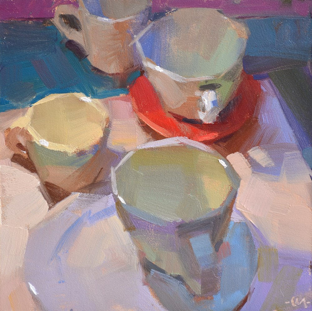 """Colorful Cups"" original fine art by Carol Marine"