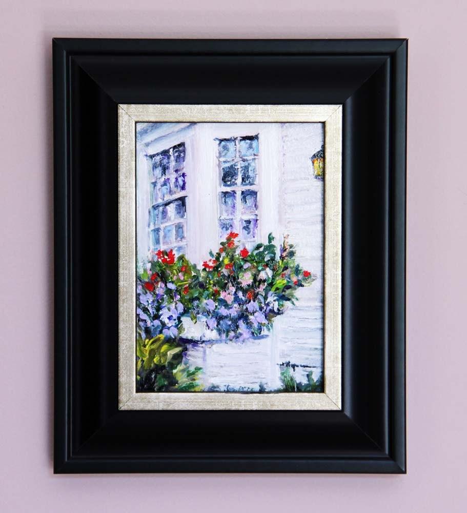 """""""Flower Boxes by the Ocean"""" original fine art by Shelley Koopmann"""