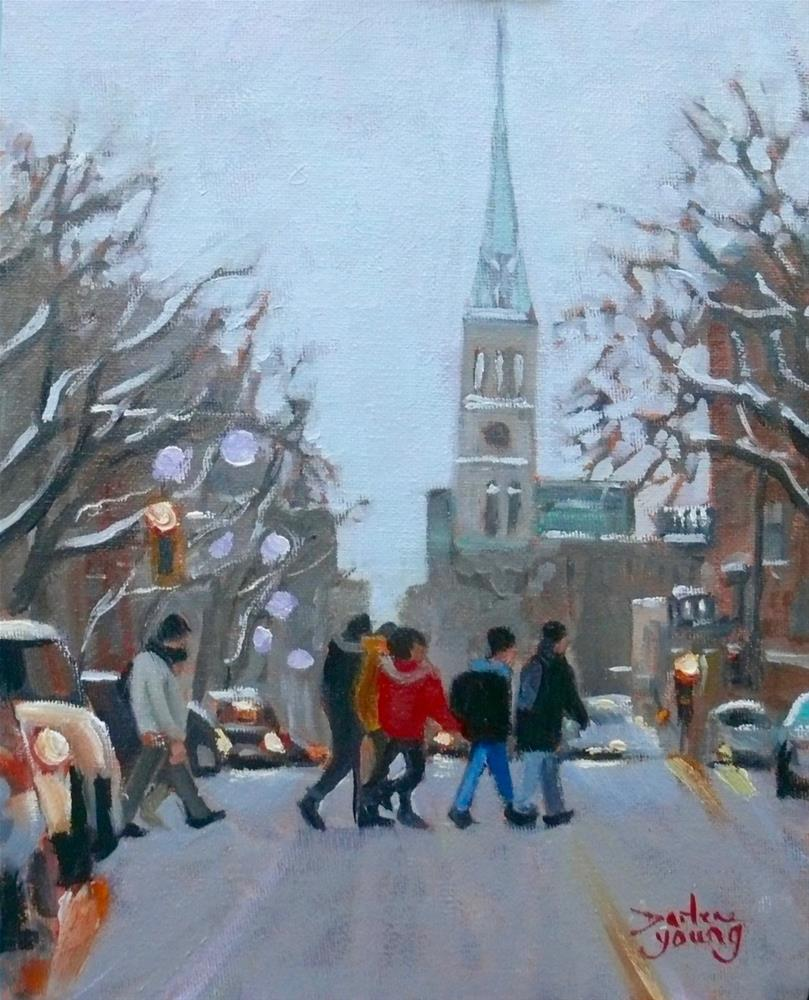 """1088 St. Denis Near UQAM, 8x10, oil on board"" original fine art by Darlene Young"