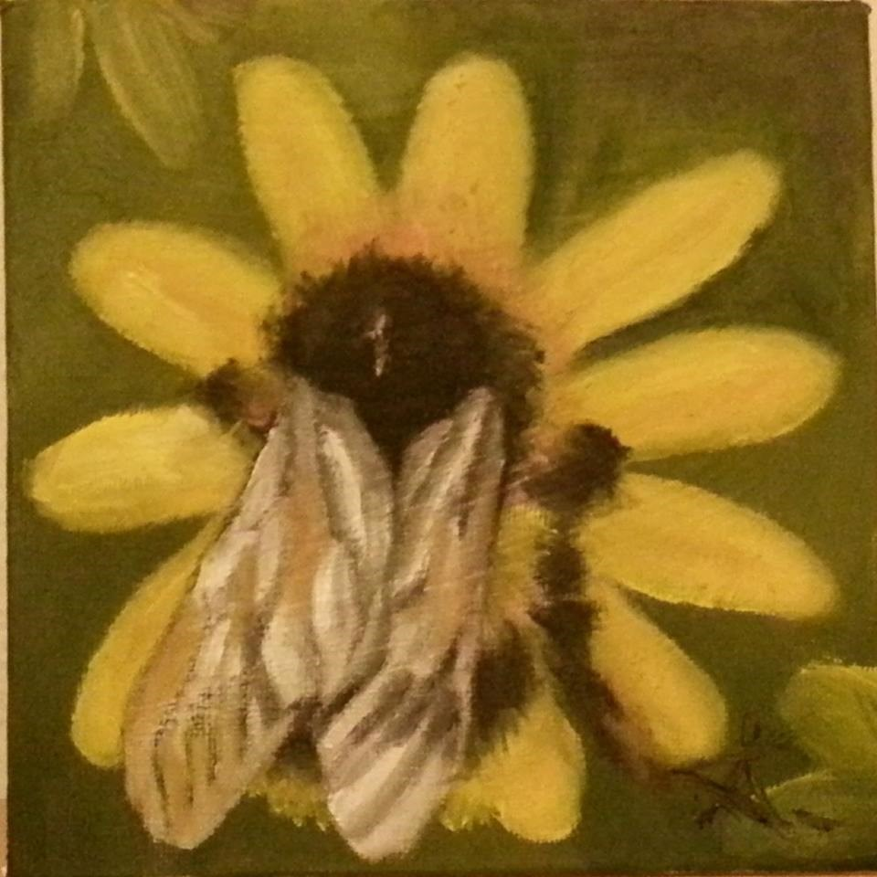 """bee on yellow 74"" original fine art by Konstantia Karletsa"