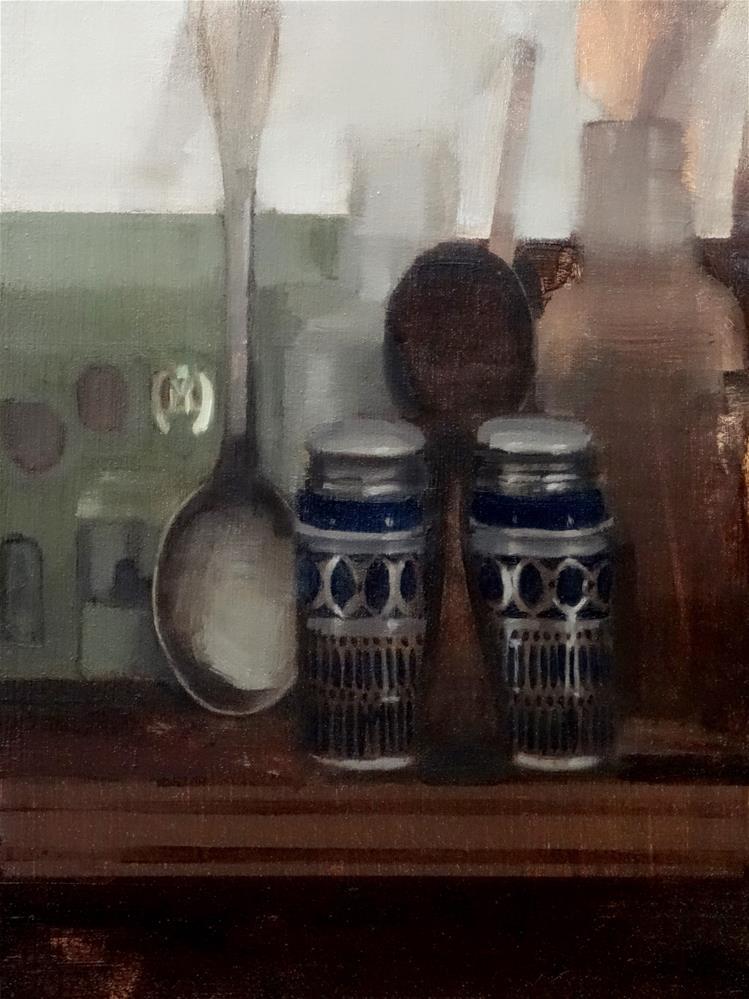 """Saltshakers, Spoons and Bottles on Shelf (no.131)"" original fine art by Michael William"