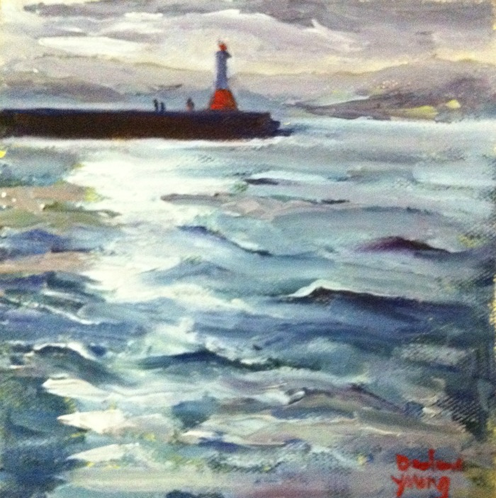 """Ogden Point Breakwater, Sunset, oil on canvas board, 6x6"" original fine art by Darlene Young"