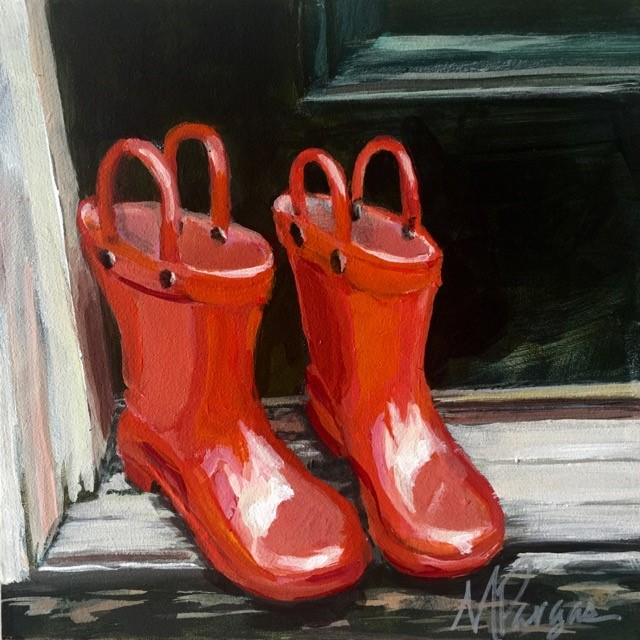 """Red Galoshes"" original fine art by Mary Pargas"