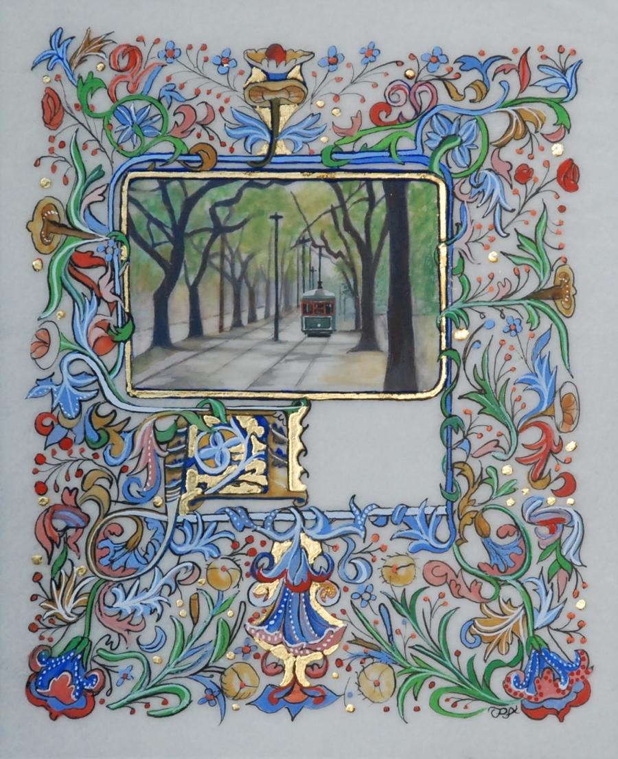 """New Orleans Streetcar"" original fine art by Patti Adams"