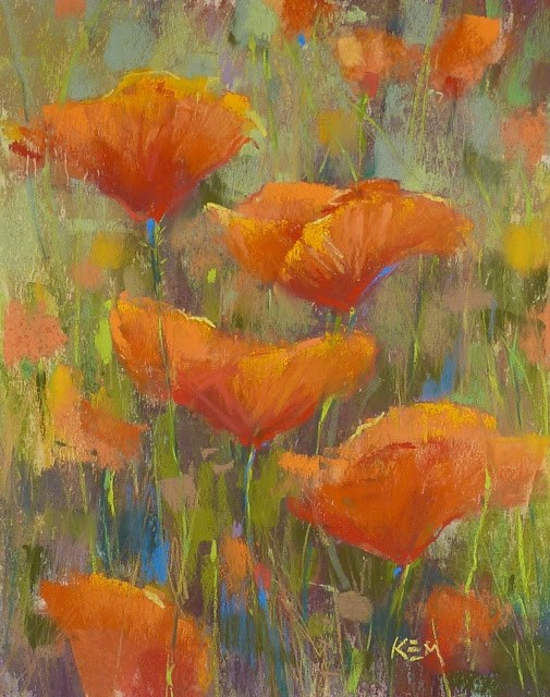 """Four Steps to a California Poppy Painting"" original fine art by Karen Margulis"