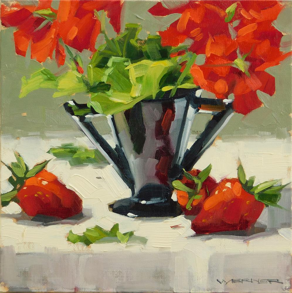 """Geraniums & Berries"" original fine art by Karen Werner"