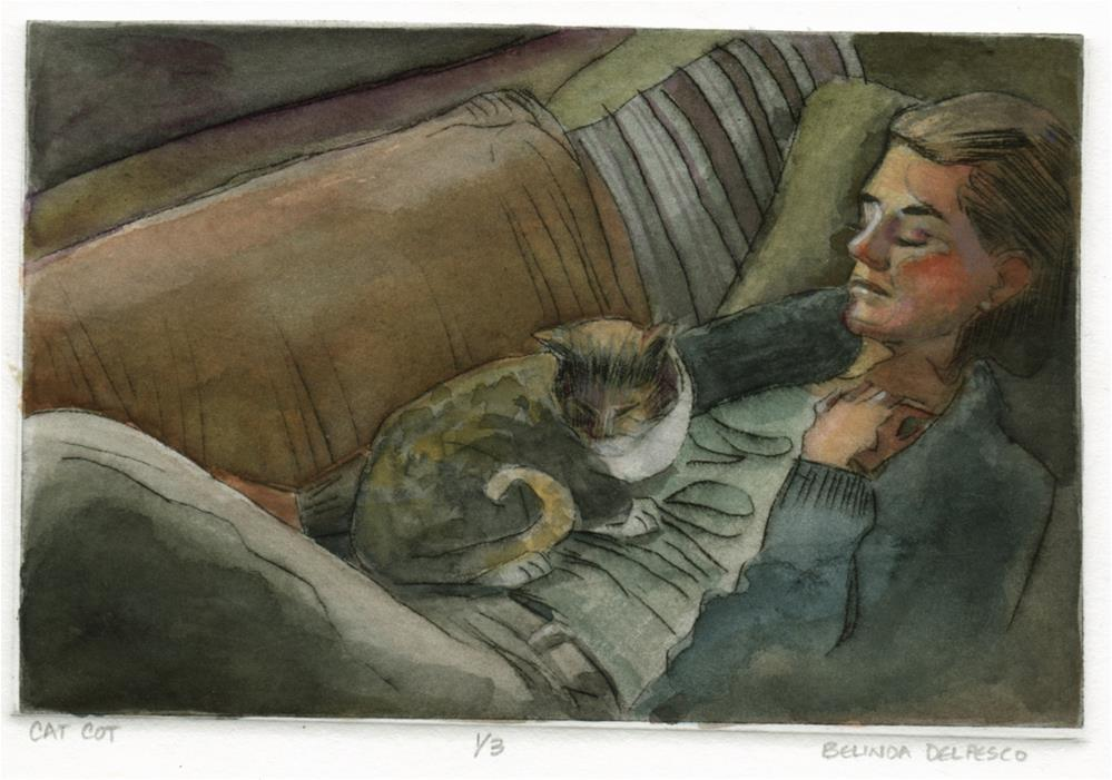 """Drypoint & Watercolor: Cat Cot (& a process video)"" original fine art by Belinda Del Pesco"