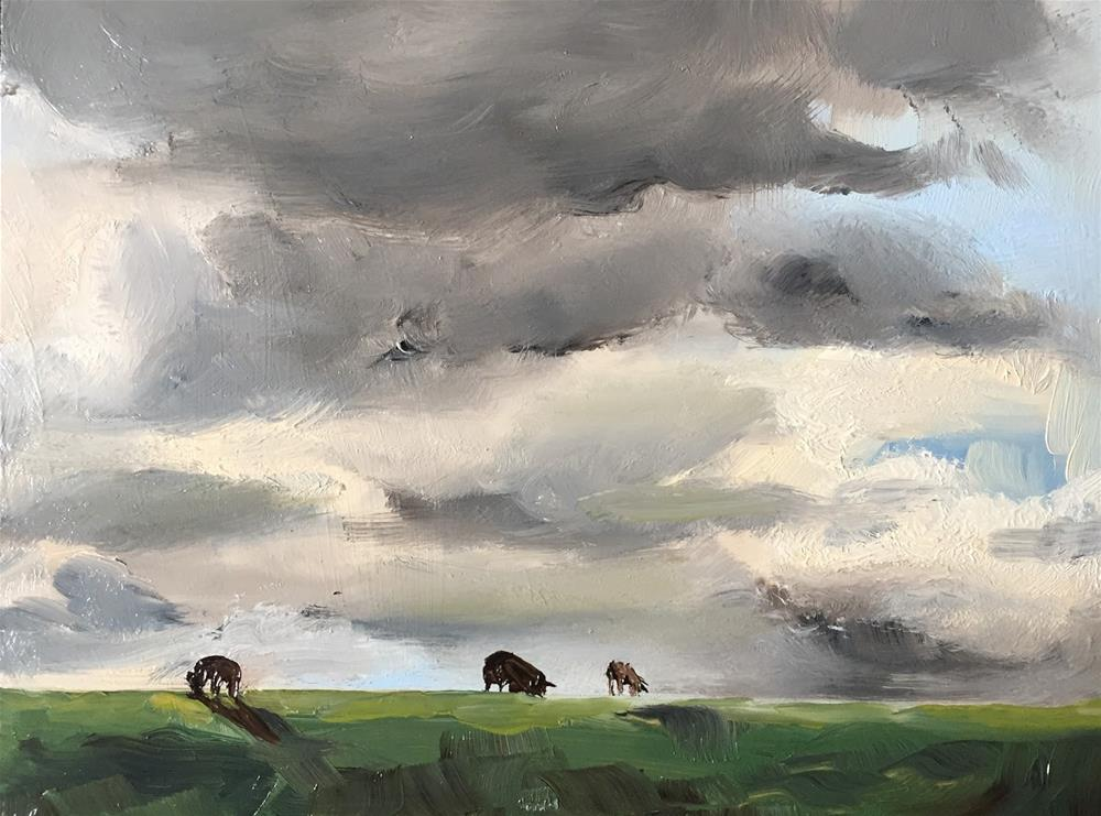 """Sheep on the dyke"" original fine art by Philine van der Vegte"