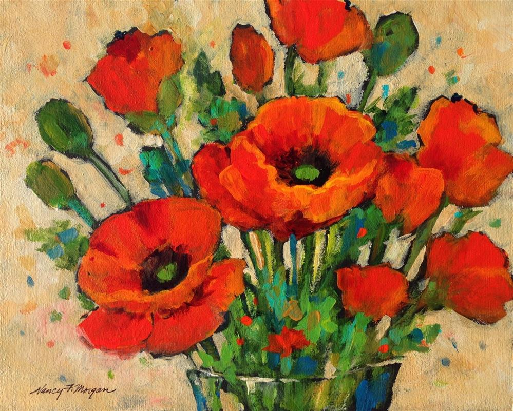 """Poppy Bouquet"" original fine art by Nancy F. Morgan"