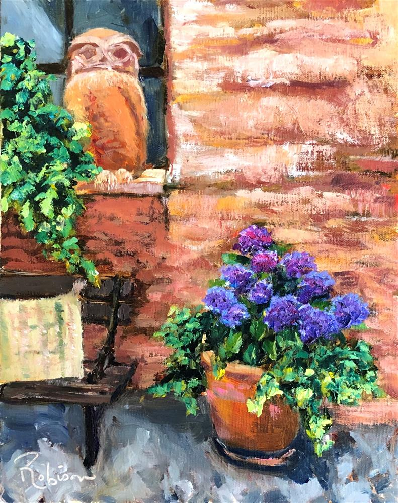 """Hoots for Hydrangeas"" original fine art by Renee Robison"