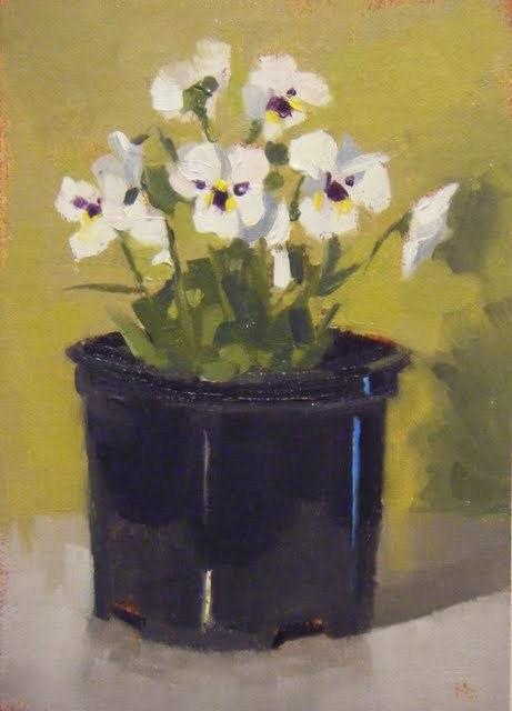 """WHITE VIOLAS"" original fine art by Helen Cooper"
